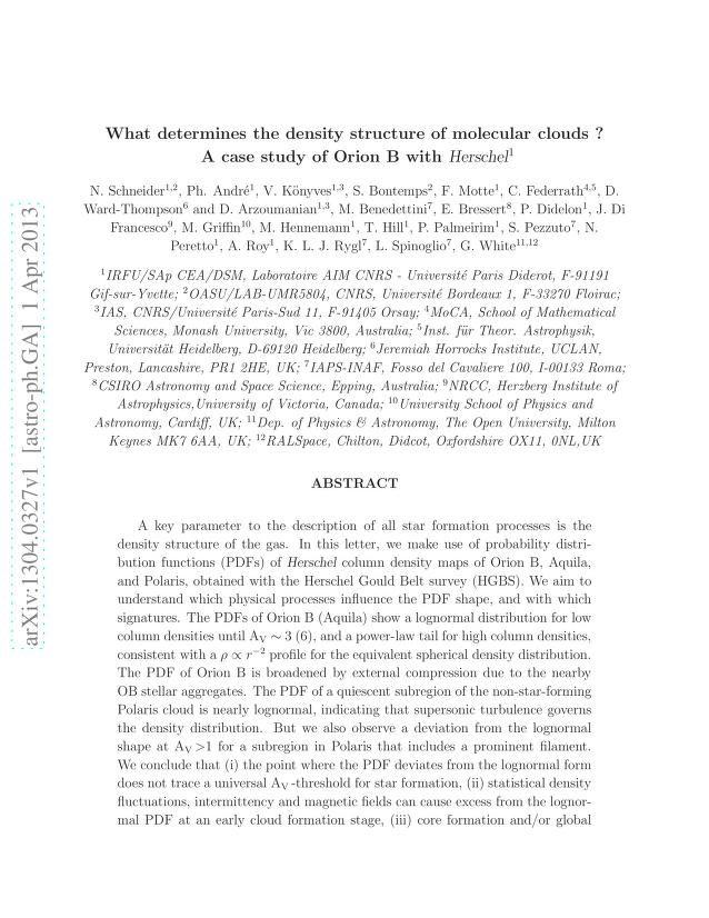 N. Schneider - What determines the density structure of molecular clouds ? A case study of Orion B with Herschel