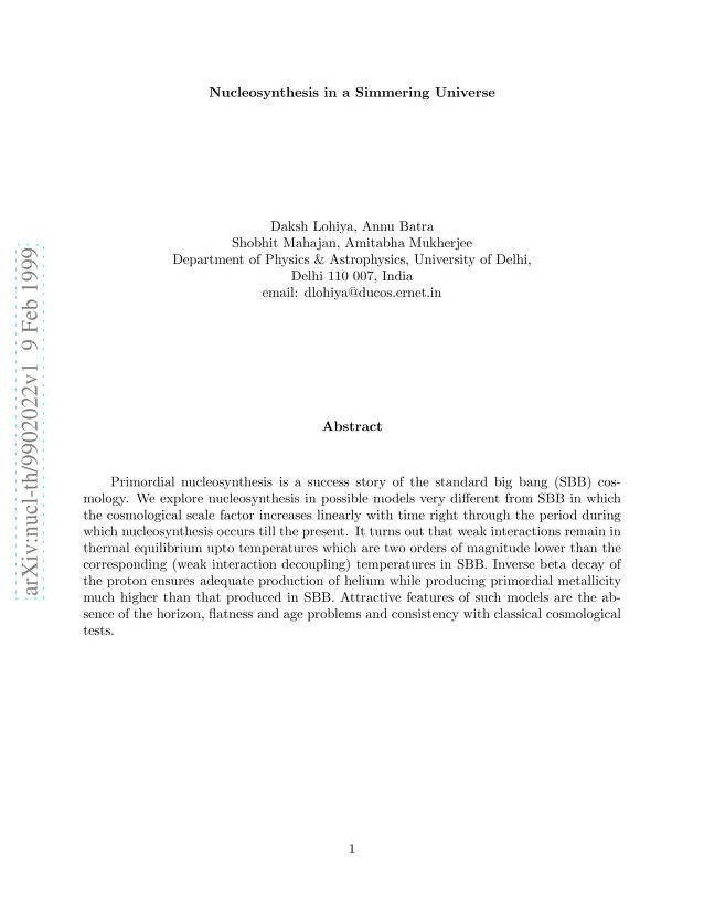 Daksh Lohiya - Nucleosynhthesis in a Simmering Universe