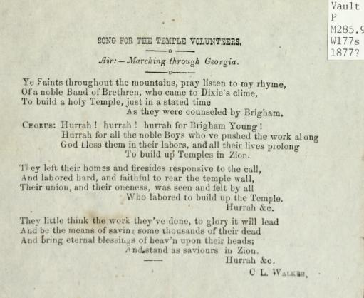 Song for the Temple Volunteers