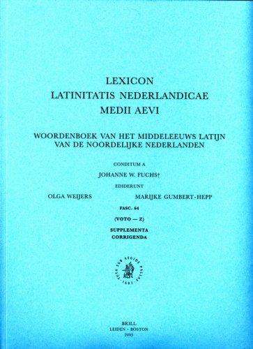 Download Lexicon Latinitatis Nederlandicae Medii Aevi