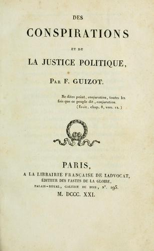 Download Des conspirations et de la justice politique