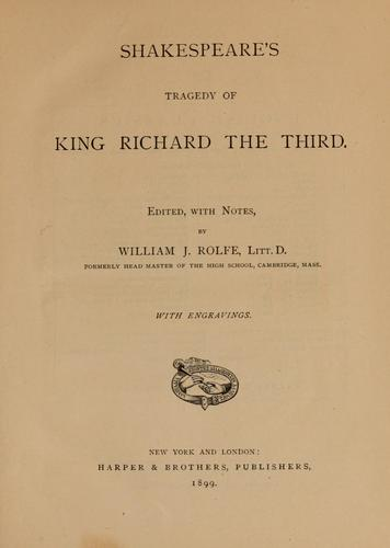 Download Shakespeare's tragedy of King Richard the Third.