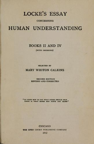Download Locke's essay concerning human understanding