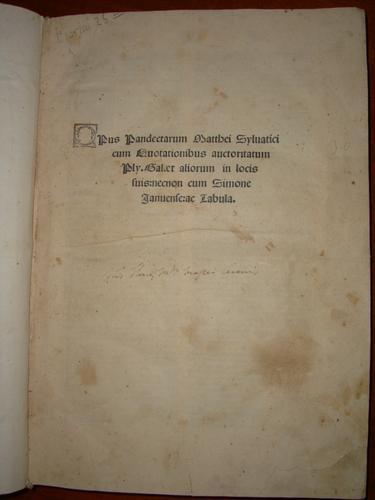 Opus pandectarum Matthei Syluatici