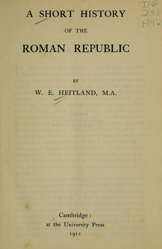 Download A short history of the Roman republic