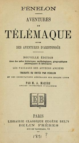 Download Les avantures de Telemaque, fils d'Ulysse…
