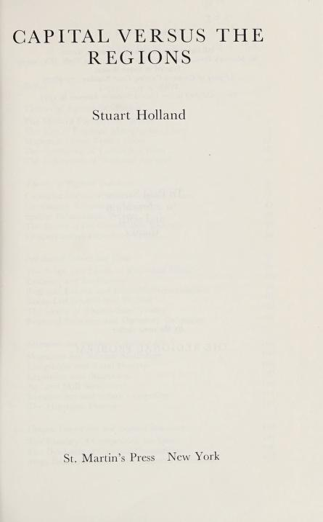 Capital versus the regions by Stuart Holland