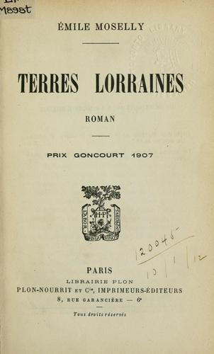 Terres Lorraines by Émile Moselly