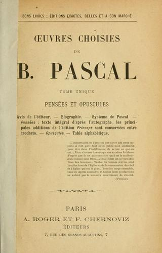 Oeuvres choisies de B. Pascal