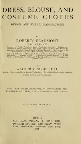 Dress, blouse, and costume cloths, design and fabric manufacture by Roberts Beaumont